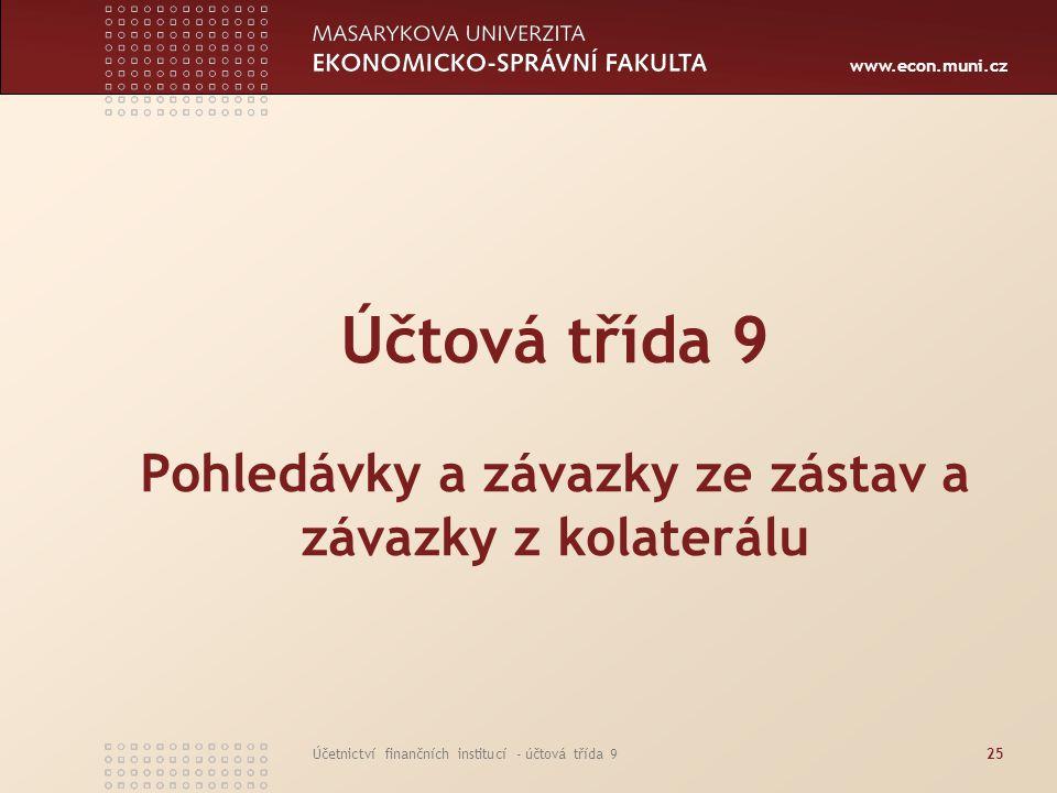 www.econ.muni.cz Účetnictví finančních institucí - účtová třída 925 Účtová třída 9 Pohledávky a závazky ze zástav a závazky z kolaterálu