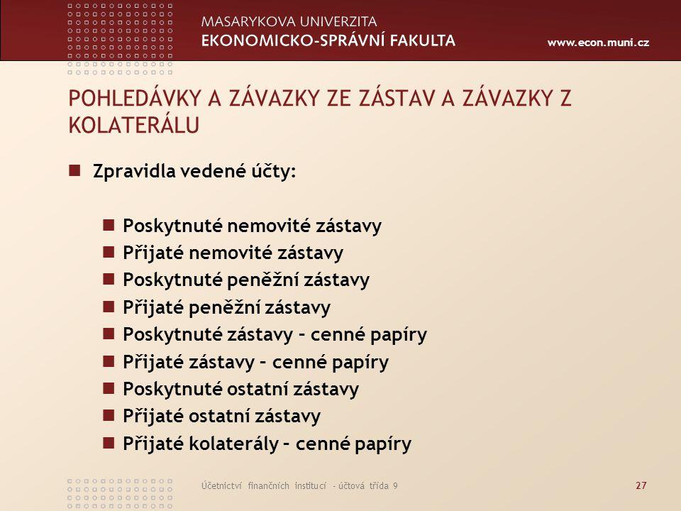www.econ.muni.cz Účetnictví finančních institucí - účtová třída 927 POHLEDÁVKY A ZÁVAZKY ZE ZÁSTAV A ZÁVAZKY Z KOLATERÁLU Zpravidla vedené účty: Posky