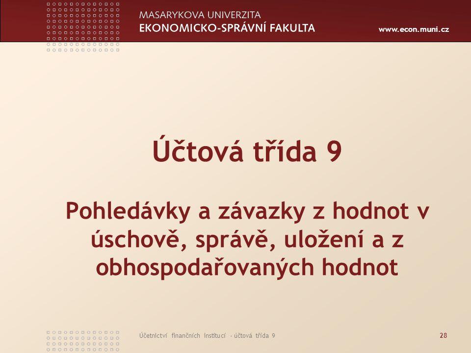 www.econ.muni.cz Účetnictví finančních institucí - účtová třída 928 Účtová třída 9 Pohledávky a závazky z hodnot v úschově, správě, uložení a z obhosp