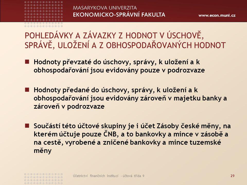 www.econ.muni.cz Účetnictví finančních institucí - účtová třída 929 POHLEDÁVKY A ZÁVAZKY Z HODNOT V ÚSCHOVĚ, SPRÁVĚ, ULOŽENÍ A Z OBHOSPODAŘOVANÝCH HOD