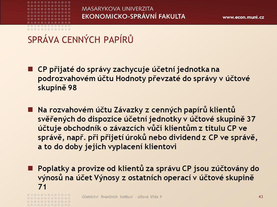 www.econ.muni.cz Účetnictví finančních institucí - účtová třída 943 SPRÁVA CENNÝCH PAPÍRŮ CP přijaté do správy zachycuje účetní jednotka na podrozvaho