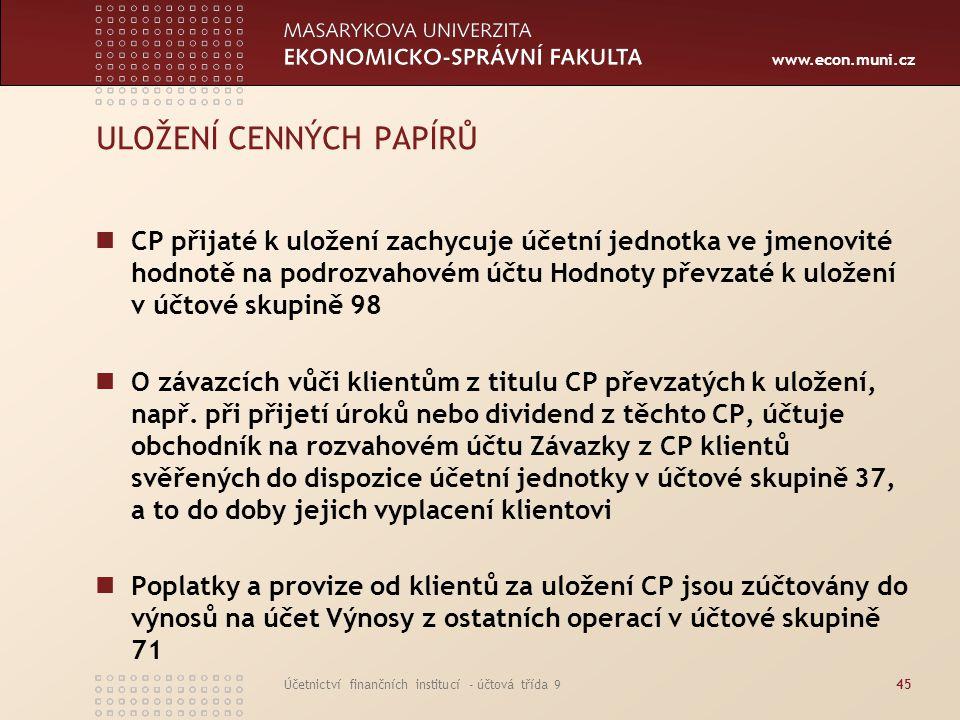 www.econ.muni.cz Účetnictví finančních institucí - účtová třída 945 ULOŽENÍ CENNÝCH PAPÍRŮ CP přijaté k uložení zachycuje účetní jednotka ve jmenovité