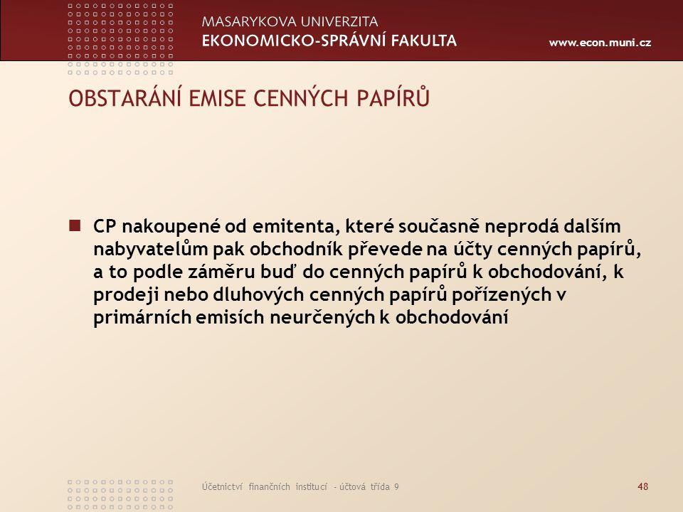 www.econ.muni.cz Účetnictví finančních institucí - účtová třída 948 OBSTARÁNÍ EMISE CENNÝCH PAPÍRŮ CP nakoupené od emitenta, které současně neprodá da
