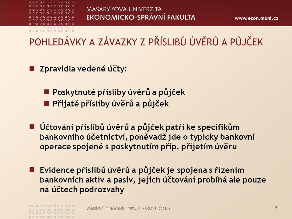 www.econ.muni.cz Účetnictví finančních institucí - účtová třída 928 Účtová třída 9 Pohledávky a závazky z hodnot v úschově, správě, uložení a z obhospodařovaných hodnot