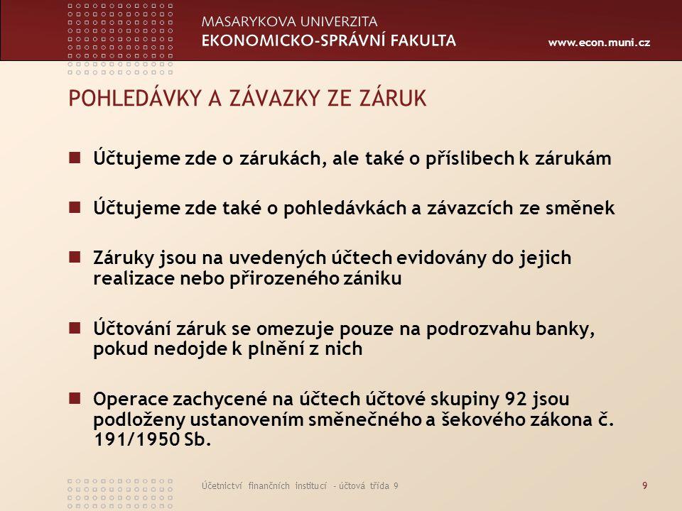www.econ.muni.cz Účetnictví finančních institucí - účtová třída 99 POHLEDÁVKY A ZÁVAZKY ZE ZÁRUK Účtujeme zde o zárukách, ale také o příslibech k záru