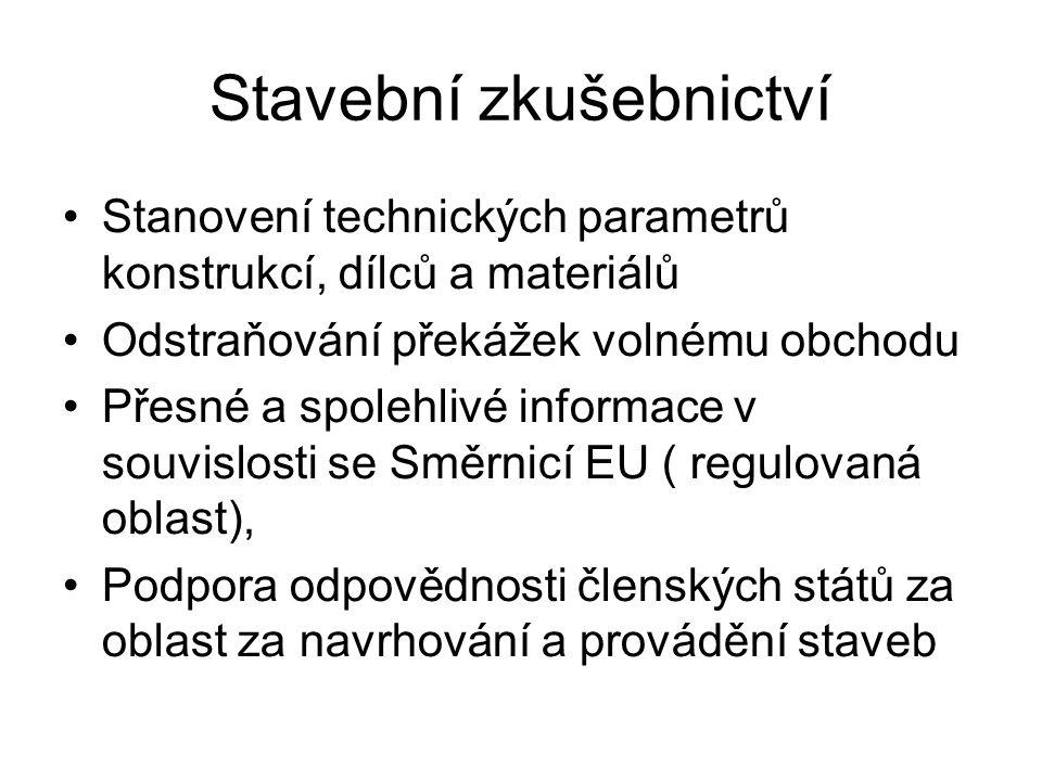 Stavební zkušebnictví Stanovení technických parametrů konstrukcí, dílců a materiálů Odstraňování překážek volnému obchodu Přesné a spolehlivé informace v souvislosti se Směrnicí EU ( regulovaná oblast), Podpora odpovědnosti členských států za oblast za navrhování a provádění staveb