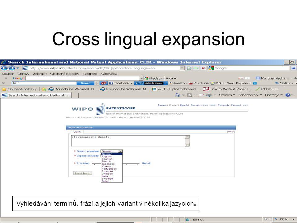 Cross lingual expansion Vyhledávání termínů, frází a jejich variant v několika jazycích.