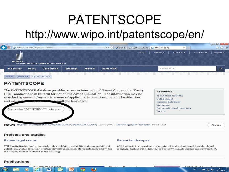 Základní rešeršní možnosti Manuál ke stažení: http://www.wipo.int/freepublications/en/patents/434/wi po_pub_l434_08.pdf .