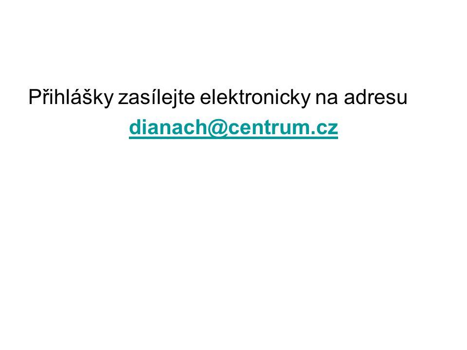 Přihlášky zasílejte elektronicky na adresu dianach@centrum.cz