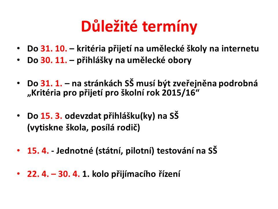 Důležité termíny Do 31. 10. – kritéria přijetí na umělecké školy na internetu Do 30.