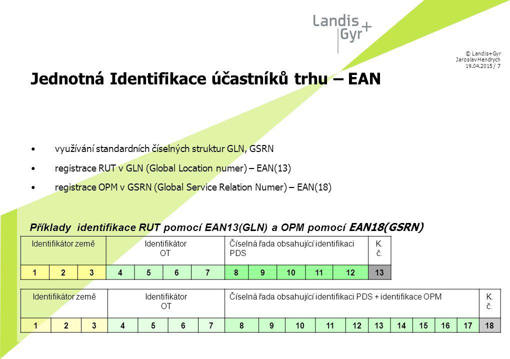 © Landis+Gyr Jaroslav Hendrych 19.04.2015 / 7 Jednotná Identifikace účastníků trhu – EAN využívání standardních číselných struktur GLN, GSRN registrac