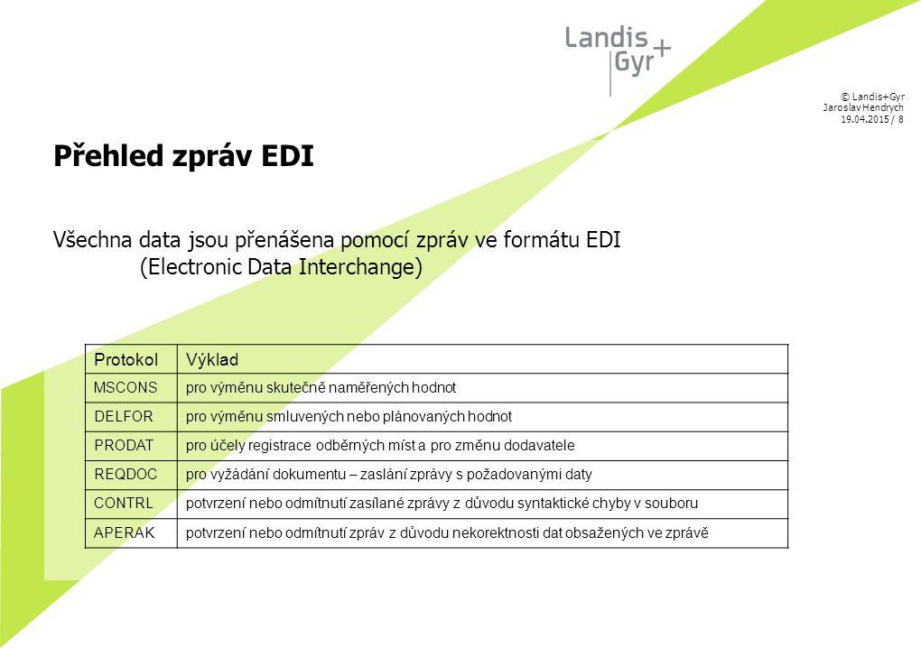 © Landis+Gyr Jaroslav Hendrych 19.04.2015 / 8 Přehled zpráv EDI Všechna data jsou přenášena pomocí zpráv ve formátu EDI (Electronic Data Interchange)