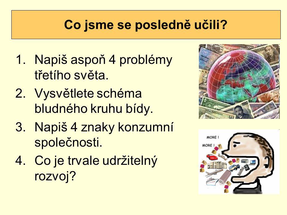 1.Napiš aspoň 4 problémy třetího světa.2.Vysvětlete schéma bludného kruhu bídy.