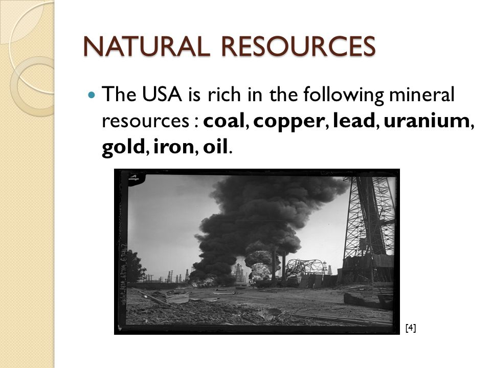 NATURAL RESOURCES The USA is rich in the following mineral resources : coal, copper, lead, uranium, gold, iron, oil.
