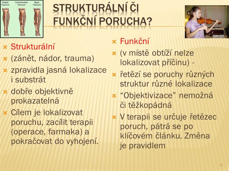  Strukturální  (zánět, nádor, trauma)  zpravidla jasná lokalizace i substrát  dobře objektivně prokazatelná  Cílem je lokalizovat poruchu, zacílit terapii (operace, farmaka) a pokračovat do vyhojení.