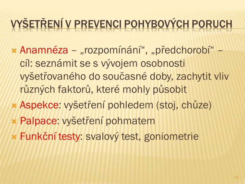 """ Anamnéza – """"rozpomínání , """"předchorobí – cíl: seznámit se s vývojem osobnosti vyšetřovaného do současné doby, zachytit vliv různých faktorů, které mohly působit  Aspekce: vyšetření pohledem (stoj, chůze)  Palpace: vyšetření pohmatem  Funkční testy: svalový test, goniometrie 12"""
