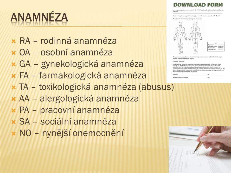  RA – rodinná anamnéza  OA – osobní anamnéza  GA – gynekologická anamnéza  FA – farmakologická anamnéza  TA – toxikologická anamnéza (abusus)  A