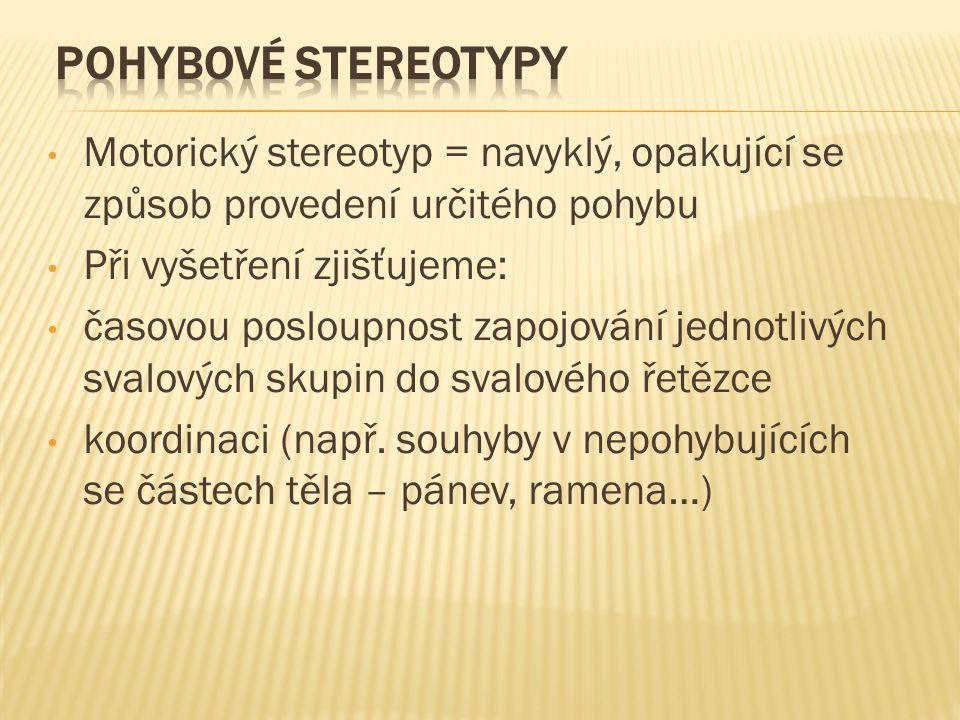 Motorický stereotyp = navyklý, opakující se způsob provedení určitého pohybu Při vyšetření zjišťujeme: časovou posloupnost zapojování jednotlivých svalových skupin do svalového řetězce koordinaci (např.