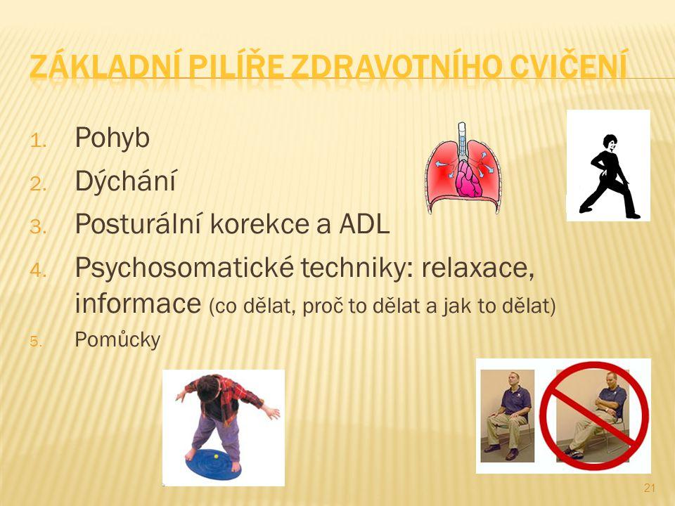 1. Pohyb 2. Dýchání 3. Posturální korekce a ADL 4. Psychosomatické techniky: relaxace, informace (co dělat, proč to dělat a jak to dělat) 5. Pomůcky 2