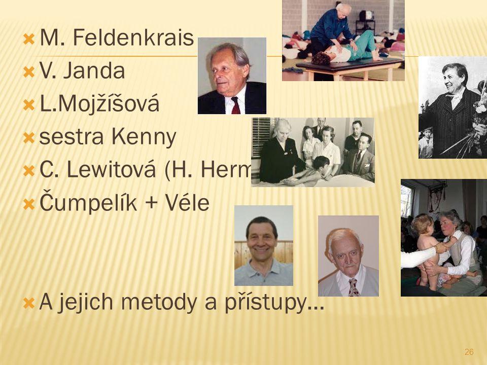  M. Feldenkrais  V. Janda  L.Mojžíšová  sestra Kenny  C. Lewitová (H. Hermachová)  Čumpelík + Véle  A jejich metody a přístupy… 26