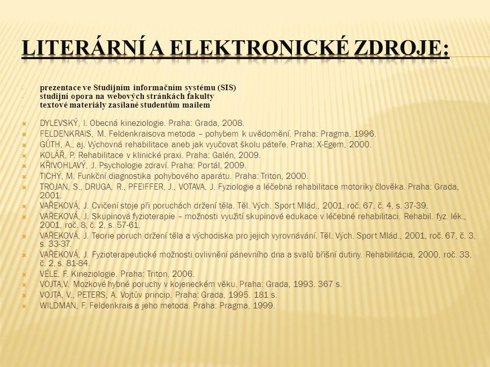 - prezentace ve Studijním informačním systému (SIS) - studijní opora na webových stránkách fakulty - textové materiály zasílané studentům mailem  DYLEVSKÝ, I.