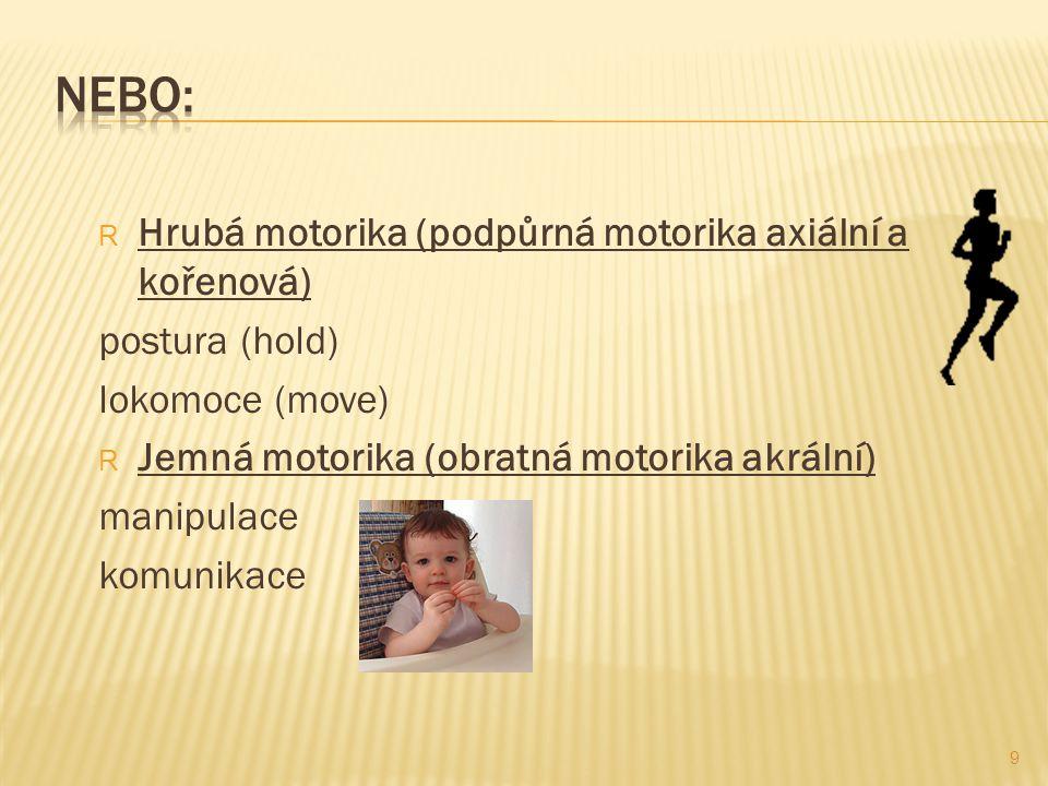 R Hrubá motorika (podpůrná motorika axiální a kořenová) postura (hold) lokomoce (move) R Jemná motorika (obratná motorika akrální) manipulace komunikace 9