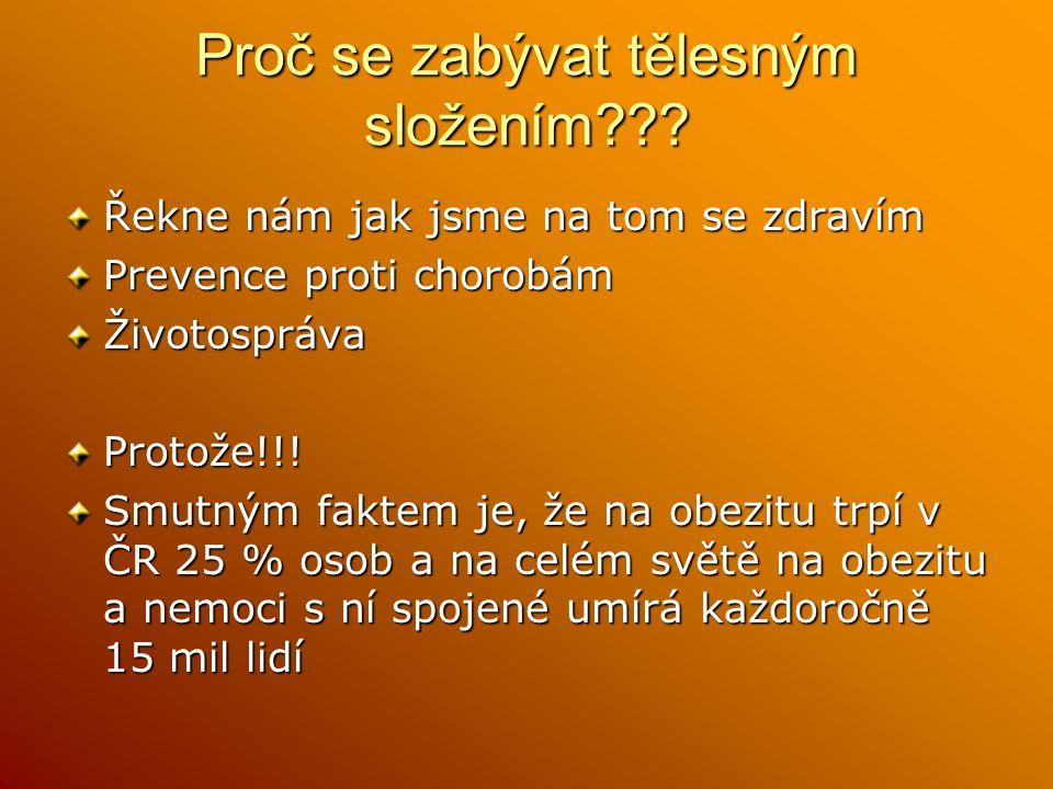 Proč se zabývat tělesným složením??? Řekne nám jak jsme na tom se zdravím Prevence proti chorobám ŽivotosprávaProtože!!! Smutným faktem je, že na obez