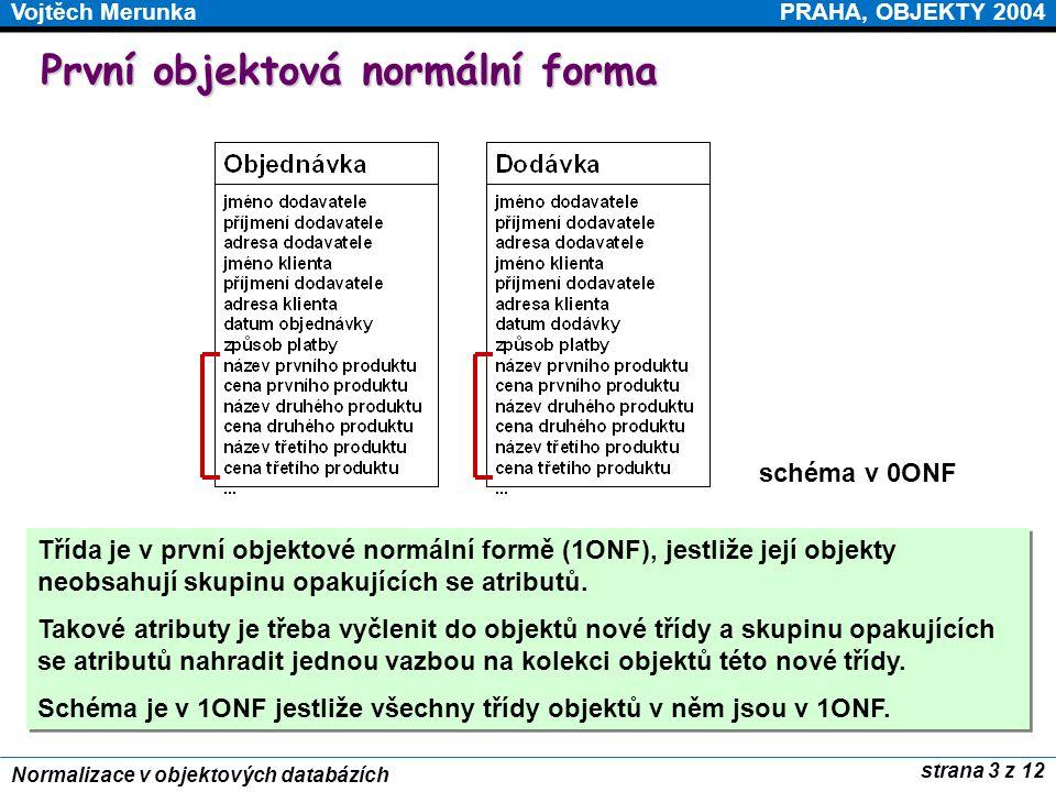 PRAHA, OBJEKTY 2004Vojtěch Merunka strana 3 z 12 Normalizace v objektových databázích První objektová normální forma Třída je v první objektové normál