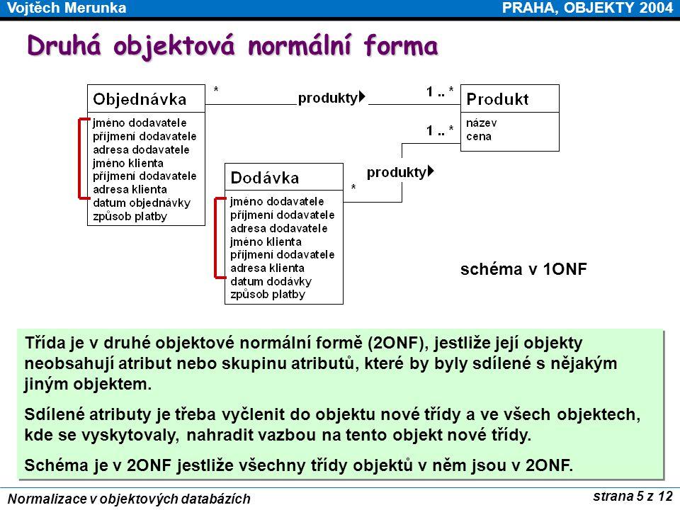PRAHA, OBJEKTY 2004Vojtěch Merunka strana 5 z 12 Normalizace v objektových databázích Druhá objektová normální forma Třída je v druhé objektové normál