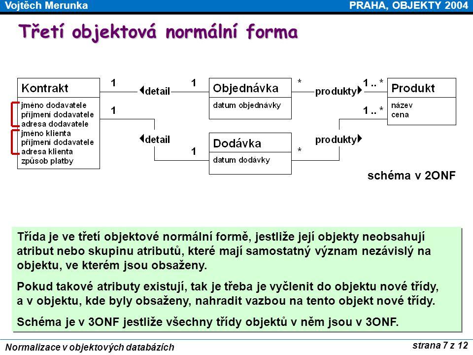 PRAHA, OBJEKTY 2004Vojtěch Merunka strana 7 z 12 Normalizace v objektových databázích Třetí objektová normální forma Třída je ve třetí objektové normá