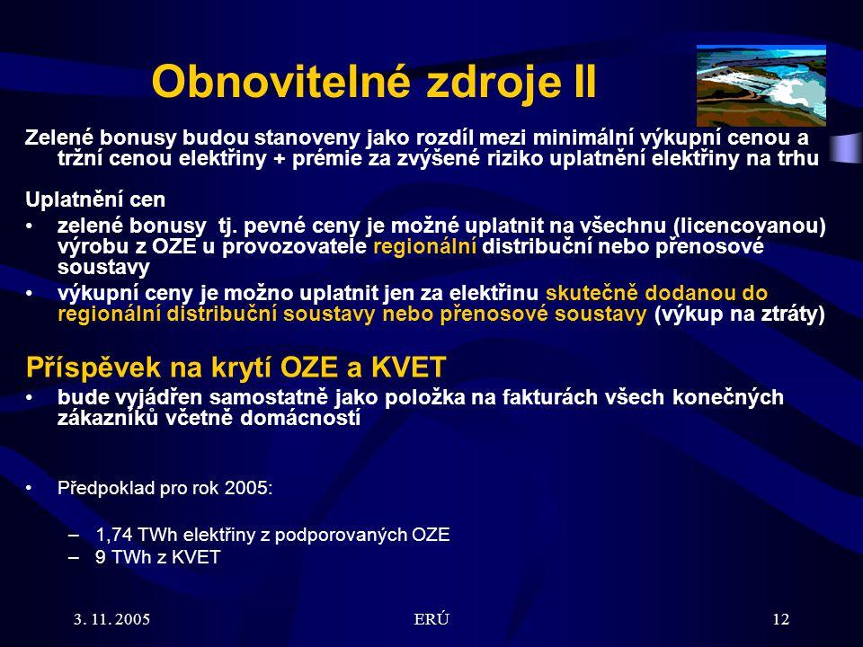 3. 11. 2005ERÚ12 Zelené bonusy budou stanoveny jako rozdíl mezi minimální výkupní cenou a tržní cenou elektřiny + prémie za zvýšené riziko uplatnění e