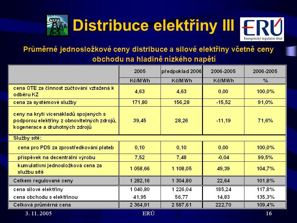 3. 11. 2005ERÚ16 Distribuce elektřiny III Průměrné jednosložkové ceny distribuce a silové elektřiny včetně ceny obchodu na hladině nízkého napětí