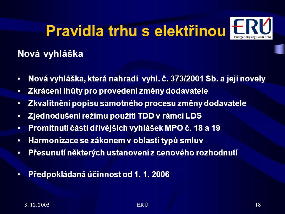 3. 11. 2005ERÚ18 Pravidla trhu s elektřinou Nová vyhláška Nová vyhláška, která nahradí vyhl.
