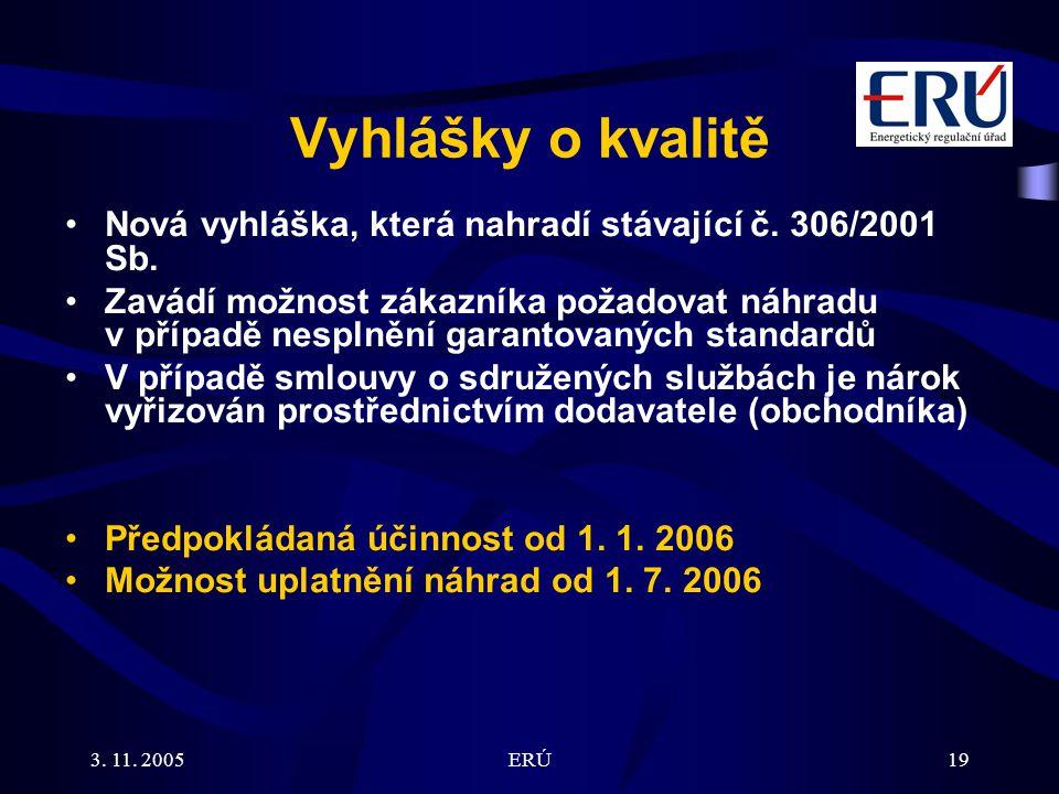3. 11. 2005ERÚ19 Vyhlášky o kvalitě Nová vyhláška, která nahradí stávající č.