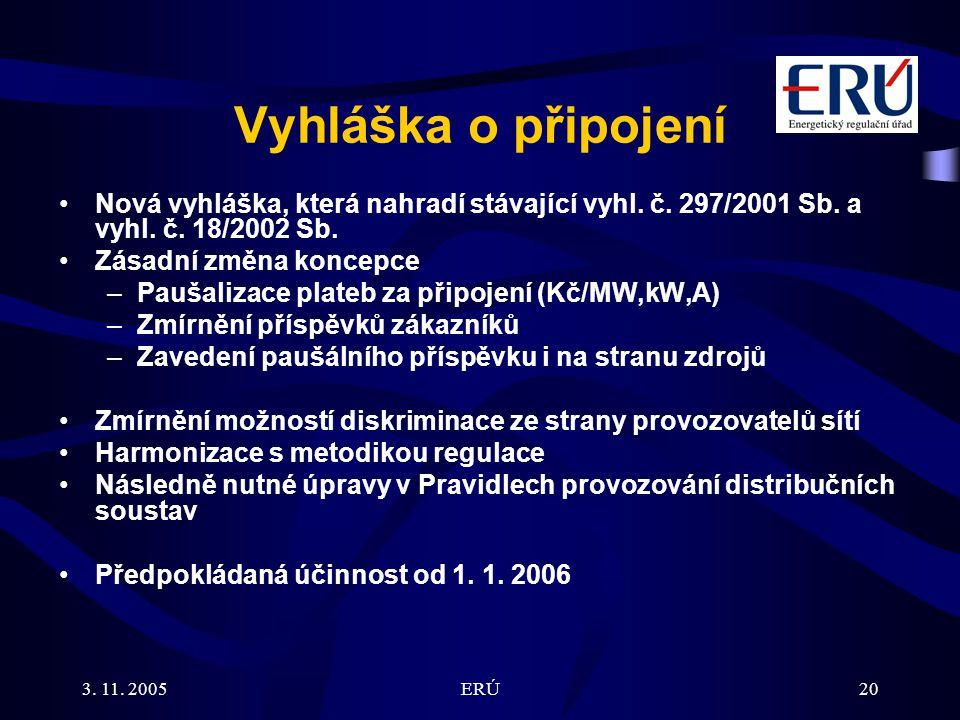 3. 11. 2005ERÚ20 Vyhláška o připojení Nová vyhláška, která nahradí stávající vyhl. č. 297/2001 Sb. a vyhl. č. 18/2002 Sb. Zásadní změna koncepce –Pauš