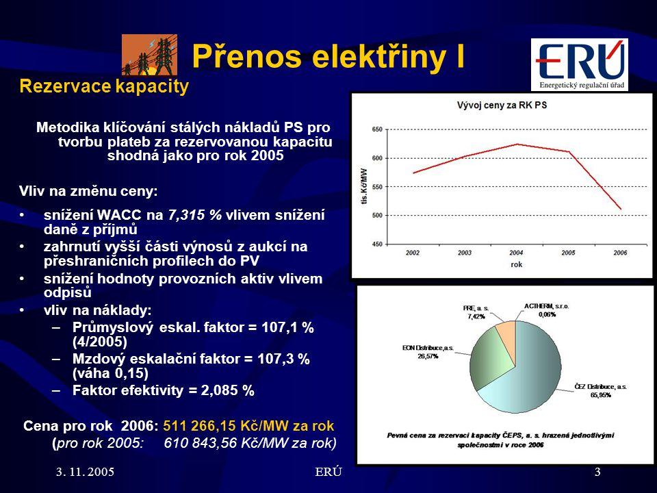 3. 11. 2005ERÚ3 Přenos elektřiny I Rezervace kapacity Metodika klíčování stálých nákladů PS pro tvorbu plateb za rezervovanou kapacitu shodná jako pro
