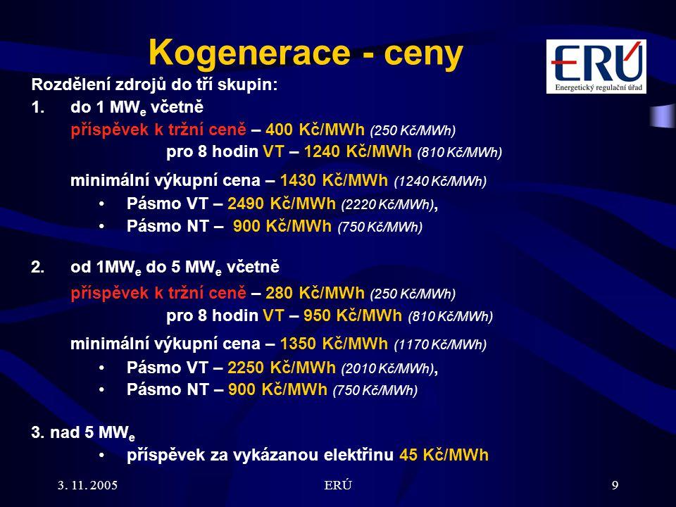 3. 11. 2005ERÚ9 Kogenerace - ceny Rozdělení zdrojů do tří skupin: 1.do 1 MW e včetně příspěvek k tržní ceně – 400 Kč/MWh (250 Kč/MWh) pro 8 hodin VT –