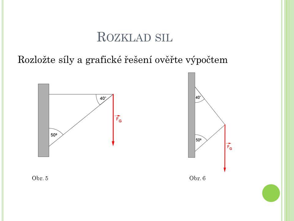 R OZKLAD SIL Rozložte síly a grafické řešení ověřte výpočtem Obr. 5Obr. 6