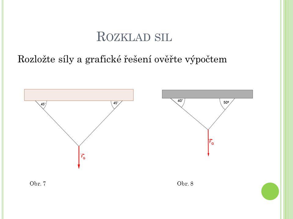 R OZKLAD SIL Rozložte síly a grafické řešení ověřte výpočtem Obr. 7Obr. 8