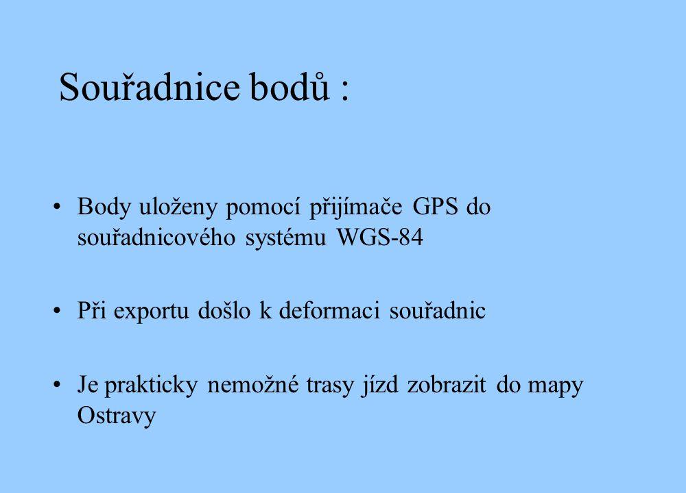 Souřadnice bodů : Body uloženy pomocí přijímače GPS do souřadnicového systému WGS-84 Při exportu došlo k deformaci souřadnic Je prakticky nemožné trasy jízd zobrazit do mapy Ostravy