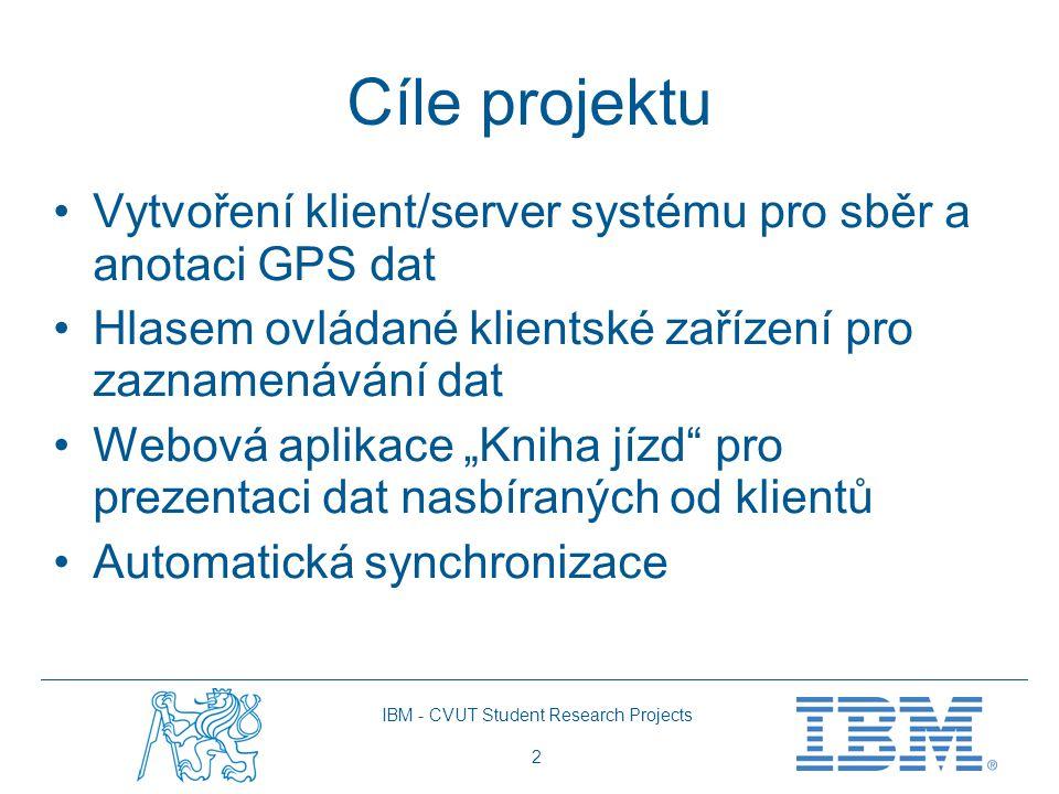 """IBM - CVUT Student Research Projects 2 Cíle projektu Vytvoření klient/server systému pro sběr a anotaci GPS dat Hlasem ovládané klientské zařízení pro zaznamenávání dat Webová aplikace """"Kniha jízd pro prezentaci dat nasbíraných od klientů Automatická synchronizace"""