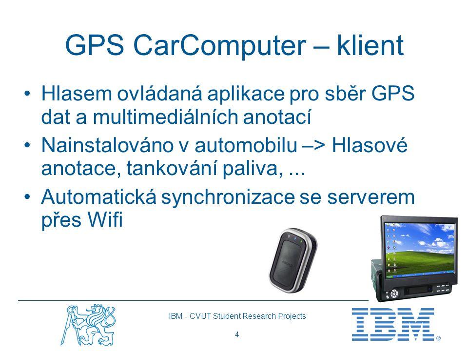 IBM - CVUT Student Research Projects 4 GPS CarComputer – klient Hlasem ovládaná aplikace pro sběr GPS dat a multimediálních anotací Nainstalováno v automobilu –> Hlasové anotace, tankování paliva,...