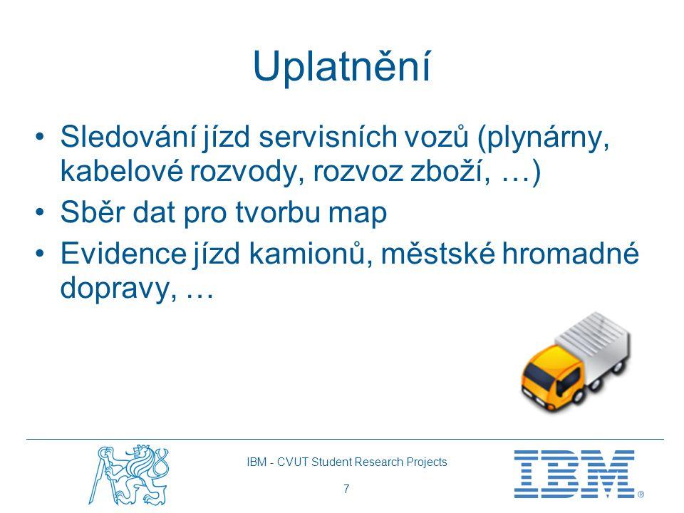 IBM - CVUT Student Research Projects 7 Uplatnění Sledování jízd servisních vozů (plynárny, kabelové rozvody, rozvoz zboží, …) Sběr dat pro tvorbu map Evidence jízd kamionů, městské hromadné dopravy, …