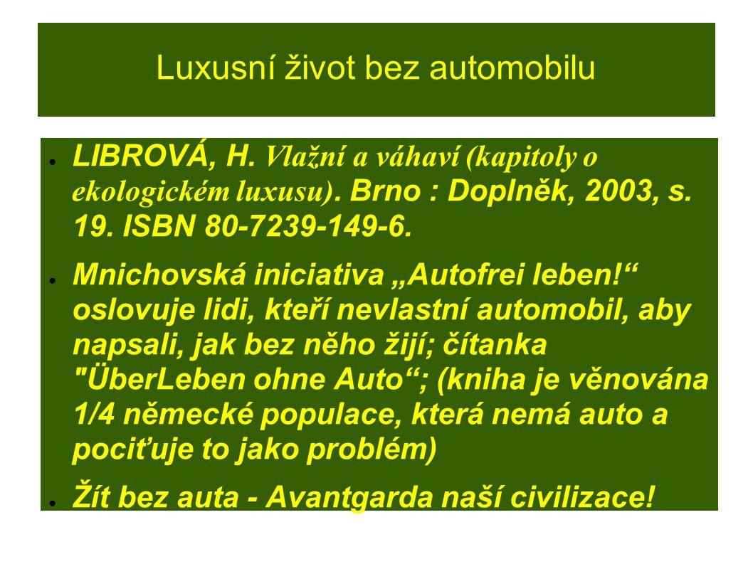 Luxusní život bez automobilu ● LIBROVÁ, H. Vlažní a váhaví (kapitoly o ekologickém luxusu). Brno : Doplněk, 2003, s. 19. ISBN 80-7239-149-6. ● Mnichov