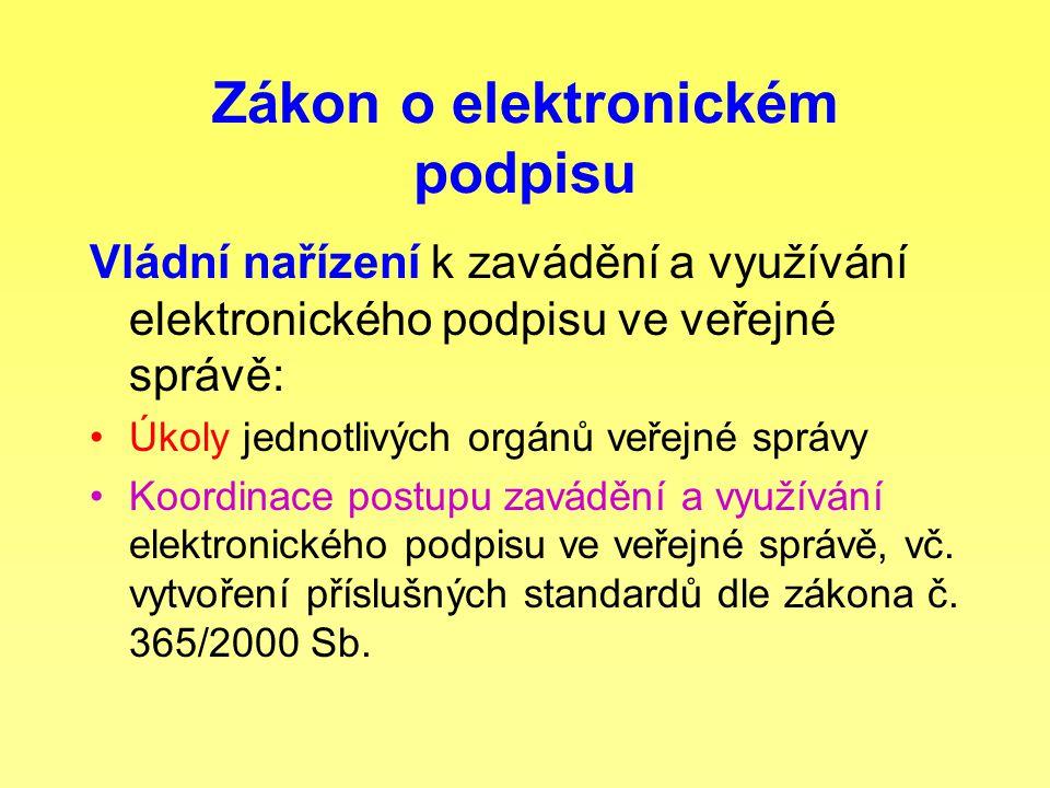 Zákon o elektronickém podpisu Vládní nařízení k zavádění a využívání elektronického podpisu ve veřejné správě: Úkoly jednotlivých orgánů veřejné správy Koordinace postupu zavádění a využívání elektronického podpisu ve veřejné správě, vč.