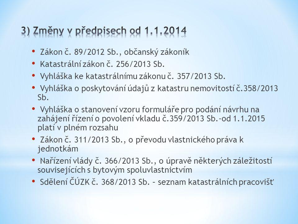 Zákon č. 89/2012 Sb., občanský zákoník Katastrální zákon č. 256/2013 Sb. Vyhláška ke katastrálnímu zákonu č. 357/2013 Sb. Vyhláška o poskytování údajů