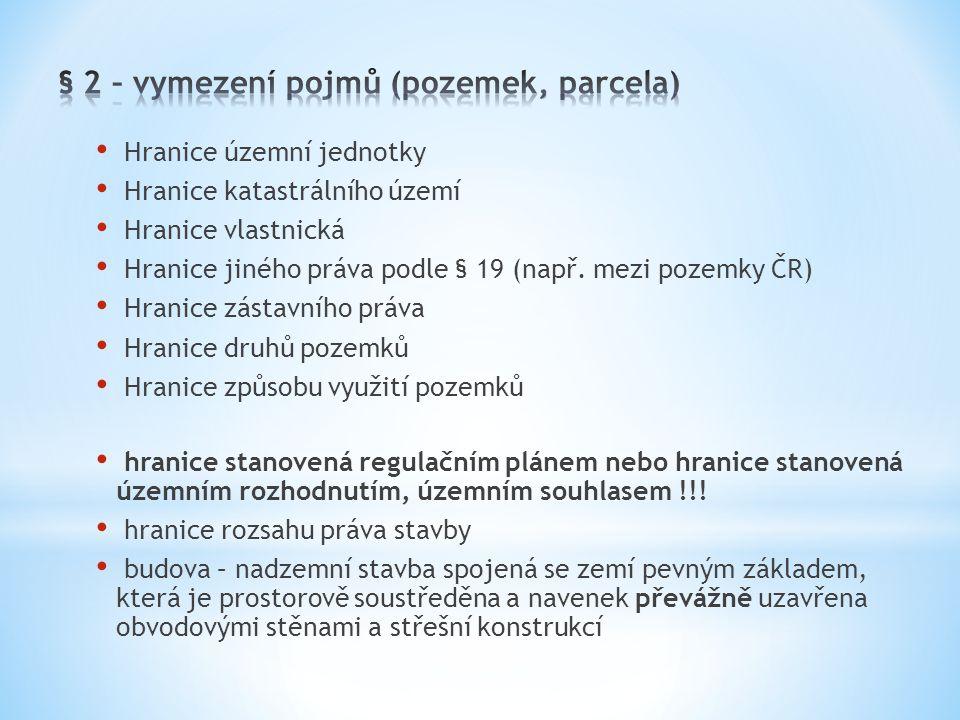 Hranice územní jednotky Hranice katastrálního území Hranice vlastnická Hranice jiného práva podle § 19 (např. mezi pozemky ČR) Hranice zástavního práv
