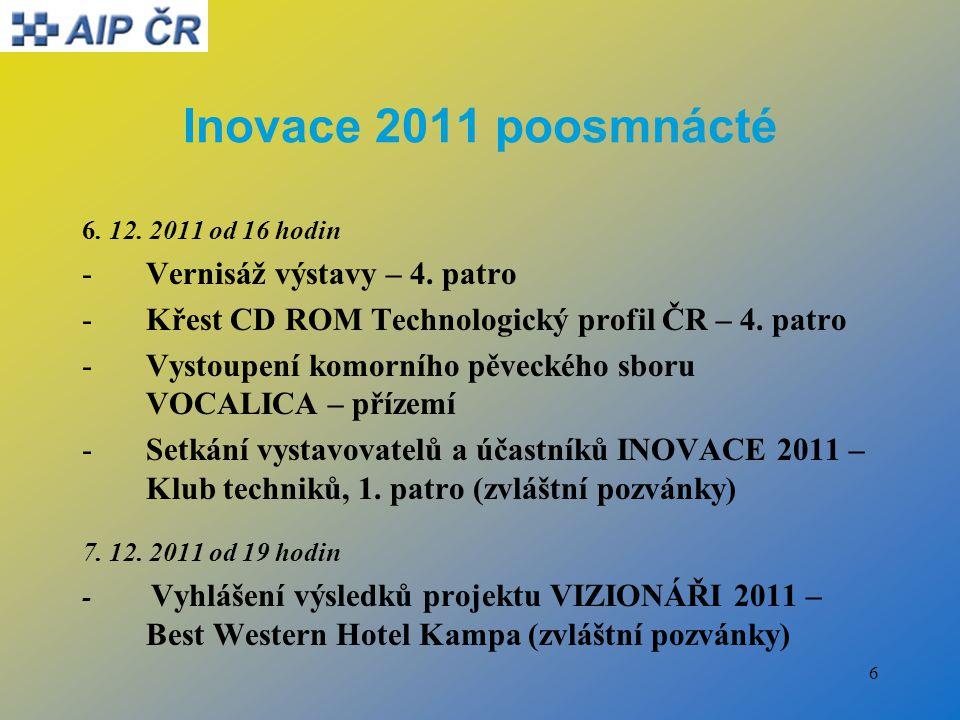 7 Inovace 2011 poosmnácté Změny programu : 6.12. 2011, sál č.