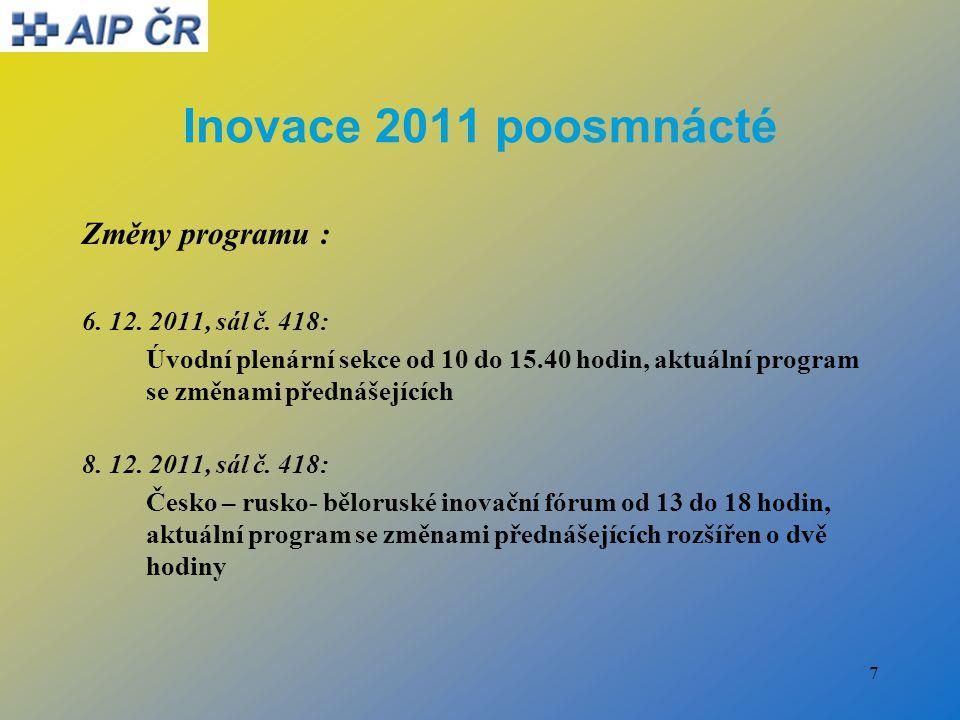 7 Inovace 2011 poosmnácté Změny programu : 6. 12.