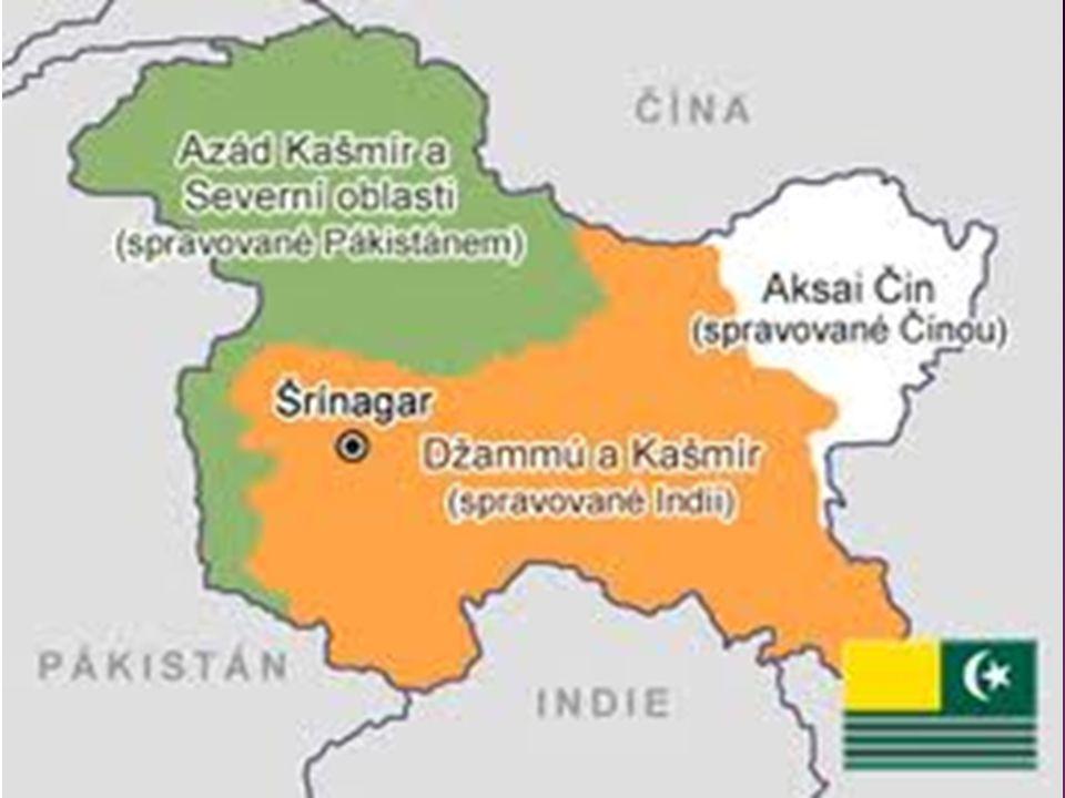  Oblast kolonií Britského impéria  1947 vrácena nezávislost  Předpoklad vzniku hinduistické INDIE a muslimského PÁKISTÁNU  KAŠMÍR - poslední maháradža Hari Singh se pokouší o samostatnost, ale neuspěje  Nepřesně, špatně určené umělé hranice  Náboženské rozdíly  Proamerický Pákistán x Indie (nakloněna spíše SSSR)  Vnitropolitické problémy – (Pákistán s vojenskými režimy)